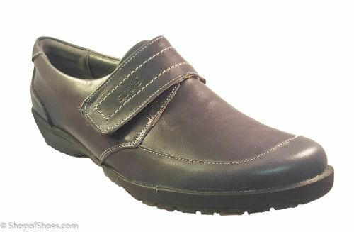 Jenny Ladies Navy soft leather velcro shoe  E - EE fit